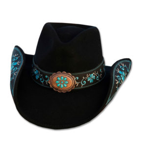 Sombrero negro fieltro bordado azul - Country and Roses - Sally - 1