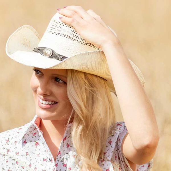 Sombrero paja blanco cowboy - Country and Roses - Snake - 3