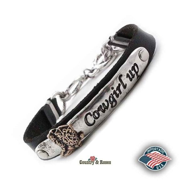 Pulsera de cuero y metal Cowgirl Up