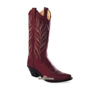 Botas Old West cuero rojo bordado Red Cloud