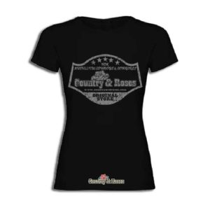 Camiseta negra para mujer Country and Roses