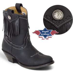 Botines para mujer negros con flecos - Country and Roses - Yampa - 1