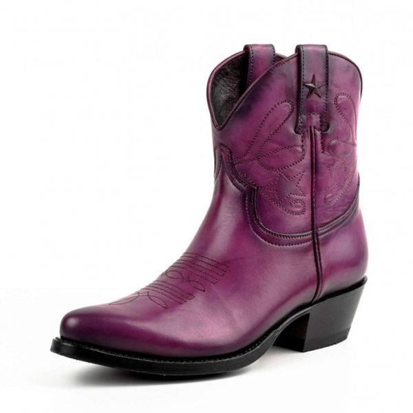 Botines cuero morado - Country and Roses - Sacramento - 2