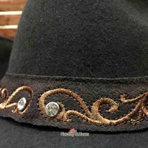 Sombrero marrón fieltro bordado - Country and Roses - Kara - 2