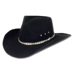 Sombrero fieltro negro vaquero - Country and Roses - Kansas Black - 1