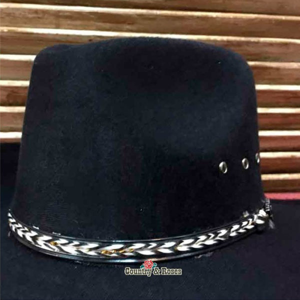 Sombrero fieltro negro vaquero - Country and Roses - Kansas Black - 2