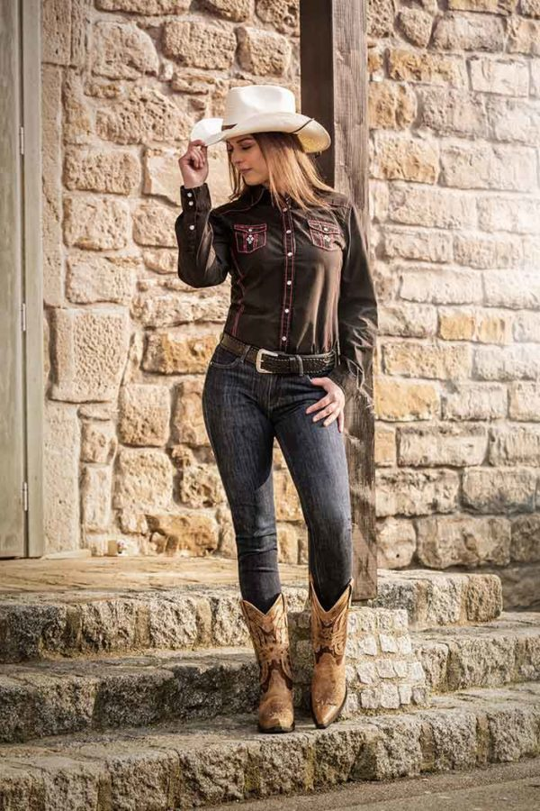 Camisa vaquera bordada estilo cowboy cowgirl - Tienda online en Madrid - Country and Roses - Camisa vaquera Hope-4