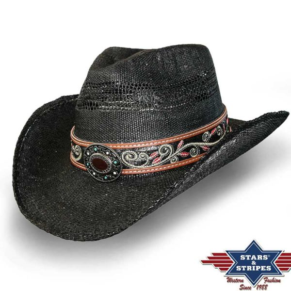 Sombrero de paja negro con cinta bordada - Country and Roses - Brenda - 1