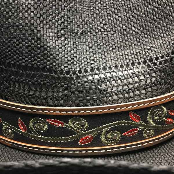 Sombrero de paja negro con cinta bordada - Country and Roses - Brenda - 3