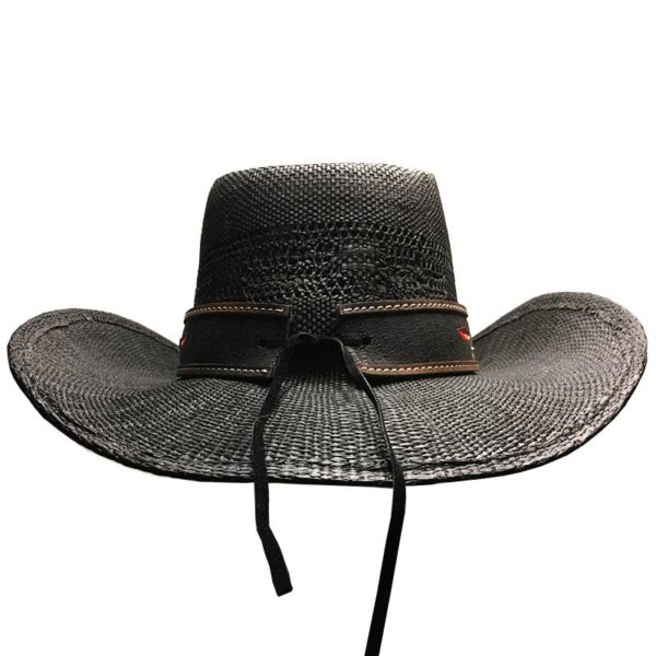 Sombrero de paja negro con cinta bordada - Country and Roses - Brenda - 4
