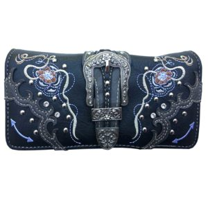 Bolso - Country and Roses - Black Flowers Dolly Wallet - 1
